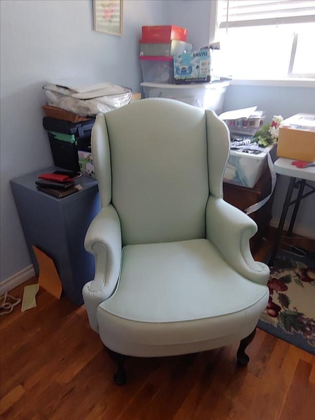 FREE: Large wing back chair and footstool