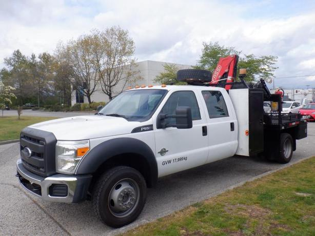 2014 Ford F-550 Flat Deck 6 foot Crew Cab Dually Diesel 4WD with Crane