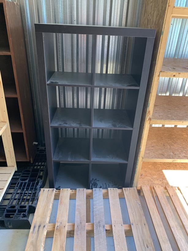 Wooden shelves/metal desk