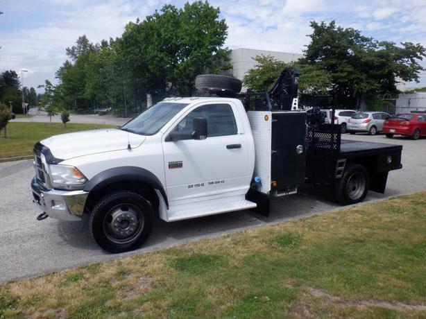 2012 Dodge Ram 5500 Flat Deck 6 foot  Cab 4WD Dually Diesel Crane