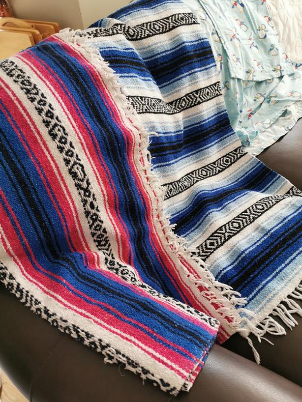 2 colourful Mexican blankets