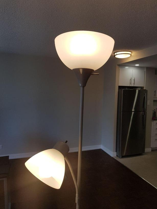 Floor Lamp with Reading Light, Silver