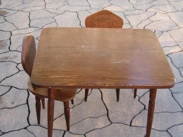 wooden  table - two chairs , solid wooded,child's