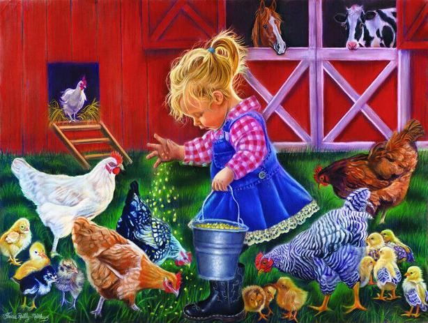 puzzle little farm girl 18 x 24 , 500pc