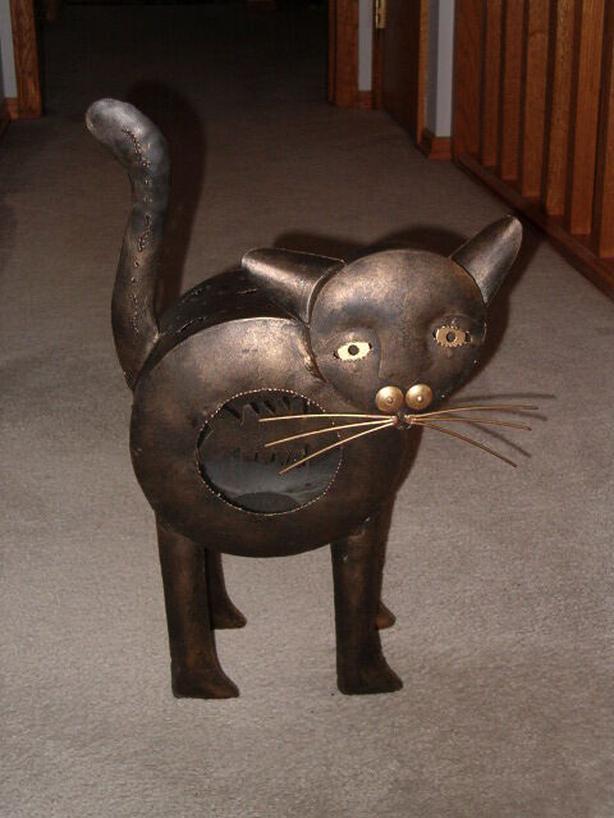 Cat metal-art morbid candle-holder , tea light candle