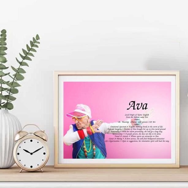 Meaning of your name - Framed, on custom background