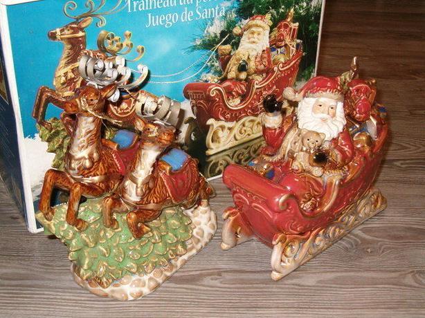 Christmas Santa sleigh rain-deer, larger figures
