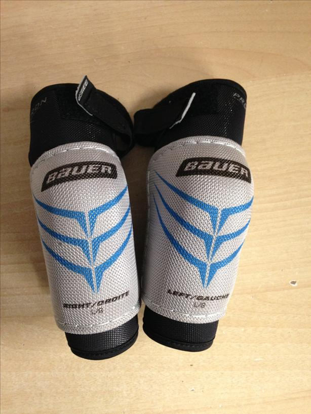 Hockey Elbow Pads Child Size Youth Large Age 4-6 Bauer Grey Blue Excellent