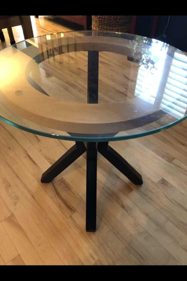 Well made wood, metal and glass casual table