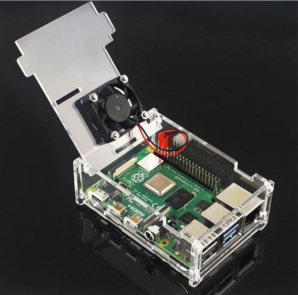 Open Concept Transparent Acrylic Case Set With Fan for Raspberry Pi 4 B