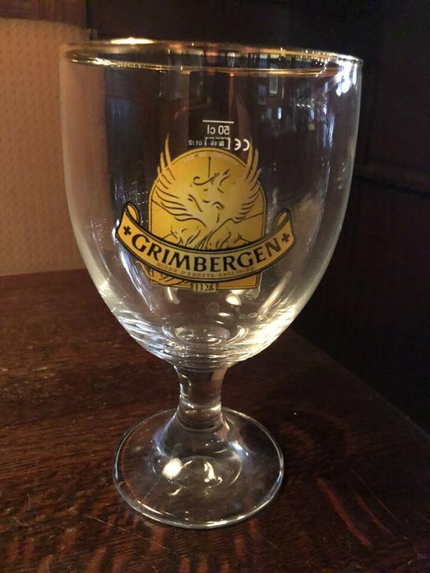 3 x Grimbergen Beer Stemmed Glasses Pint