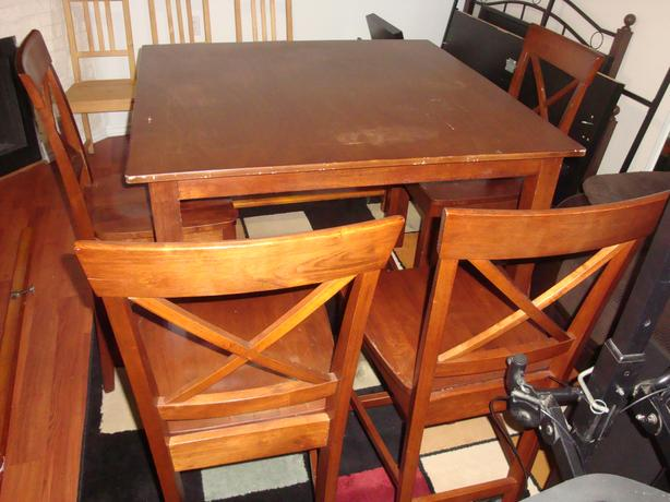 """Real wood Height dining set wit 4 chairs , table 36"""" height"""