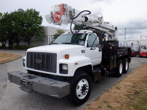 2002 Chevrolet C8500 Tandem Axel 9 Foot Flat Deck Diesel Pole Boom Truck with Ai