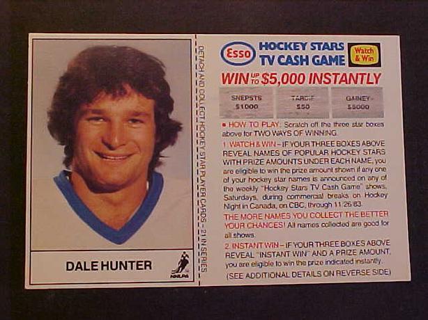DALE HUNTER HOCKEY CARD