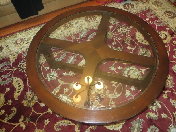 Wooden and Glass Circle Table