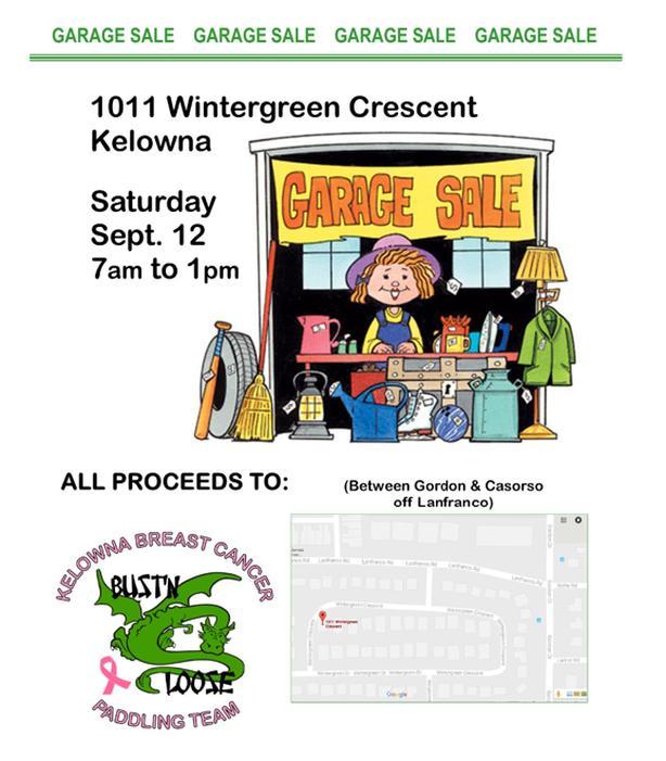 Kelowna Garage Sale - Sat. Sept.12, 2020