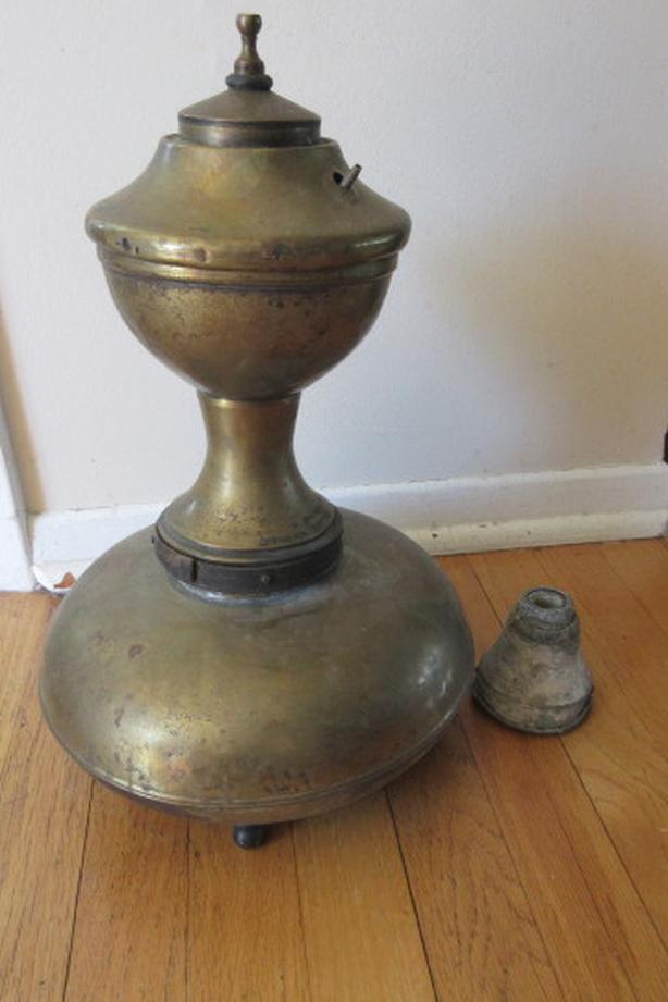 Large antique brass carbide coal lamp