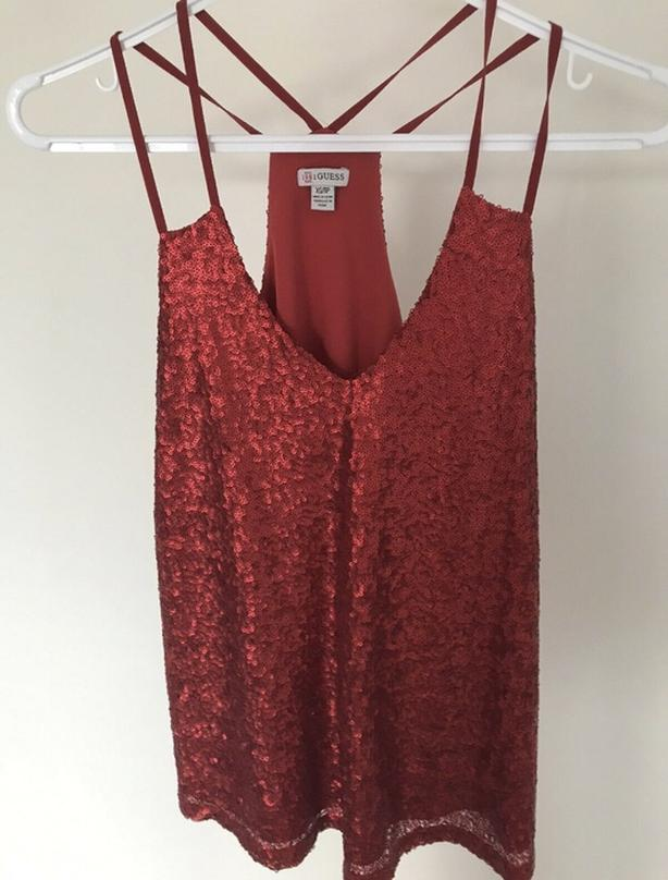 Guess sparkly red shirt