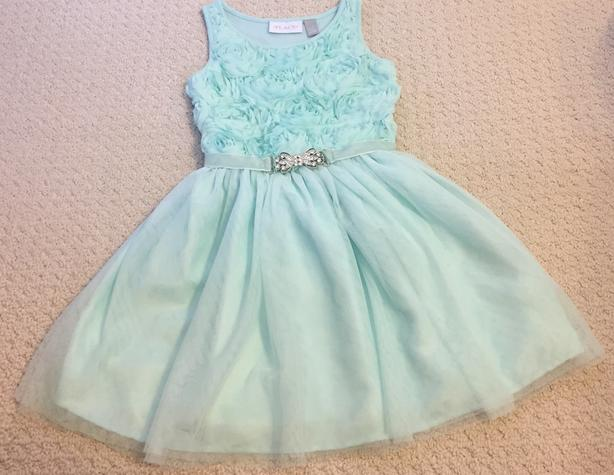 Turquoise belted Children's dress