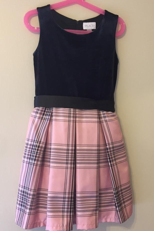 Black and pink plaids dress