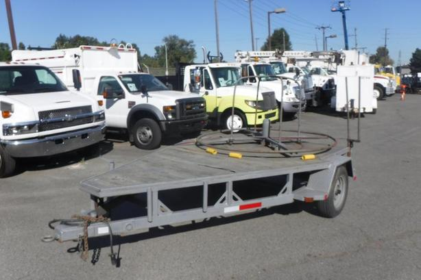 1990 Heavy Duty Spool 12 Foot Flat Deck Single Axle Utility Trailer