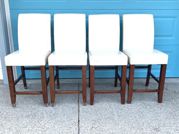 Four Bar High White Chairs