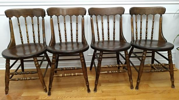 8 Dark Walnut Stained Solid Wood Chairs ($25 per chair)
