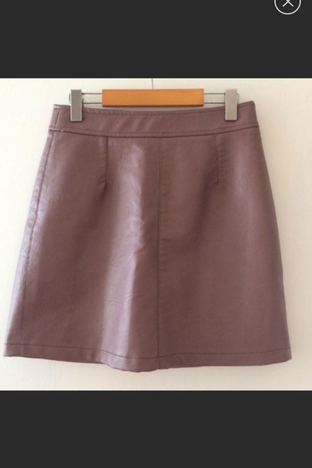 Faux Leather Purple Gray Skirt Jupe Mauve