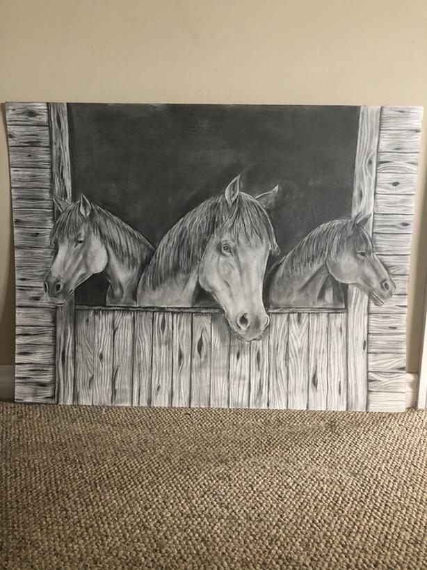 3 horses in a stable