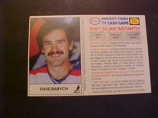 DAVE BABYCH HOCKEY CARD