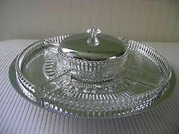 serving tray lazy Susan with four glass dish