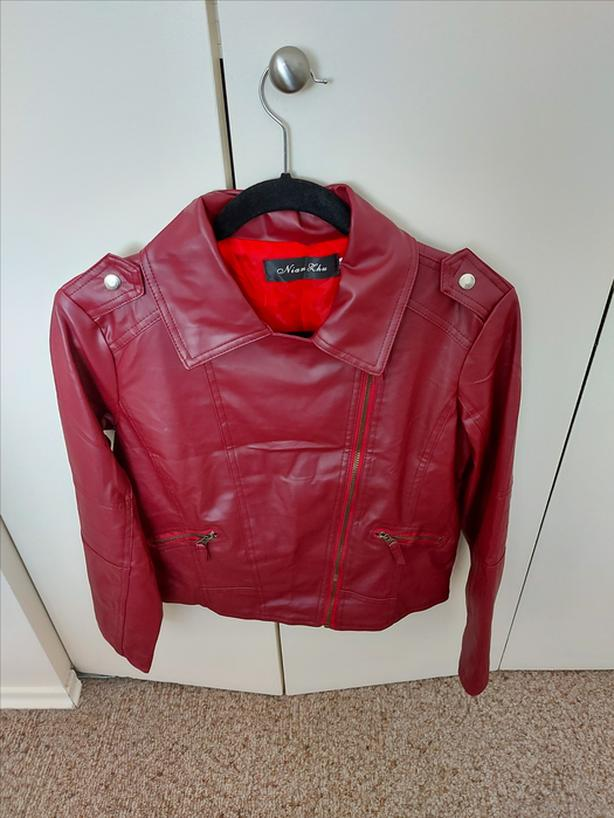 Ladies Faux Leather Dark Red Bomber Jacket - fun style NEW - REDUCED