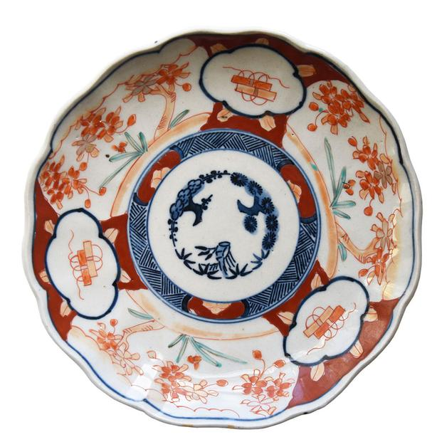 Antique Japanese Imari hand painted plate with russet and cobalt blue