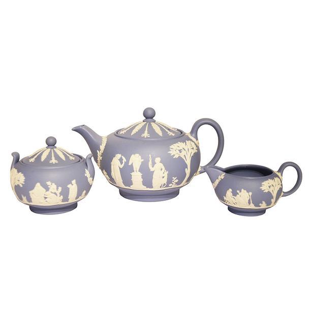 Vintage Wedgwood blue jasperware teapot, cream and sugar
