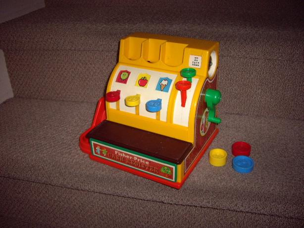 FISHER PRICE 1974 CASH REGISTER 3 COINS