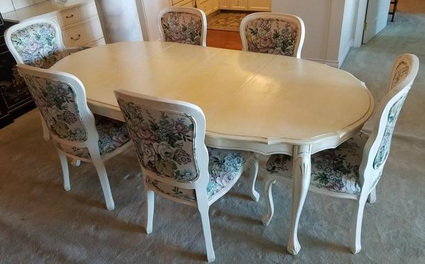 Complete Shabby Chic Dining Room Table Chairs and Buffet