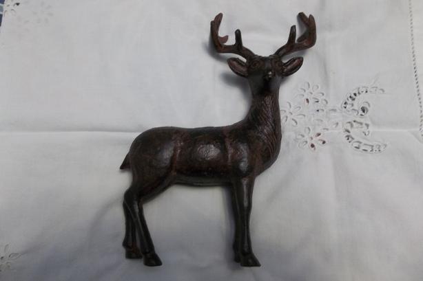 Heavy metal deer,vintage lennox cande holder Natucket pattern.
