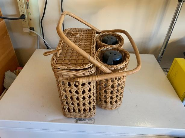 wicker picnic basket with 2 matching water bottles