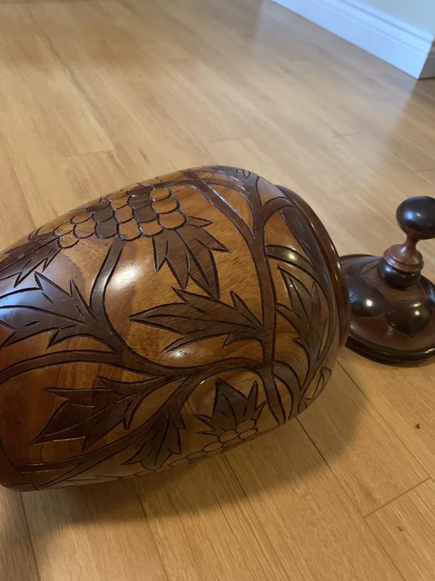 Hand Crafted Walnut Accent Storage Vase