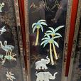 4 x Asian Art Wall Panels - Mother is Pearl Inlay