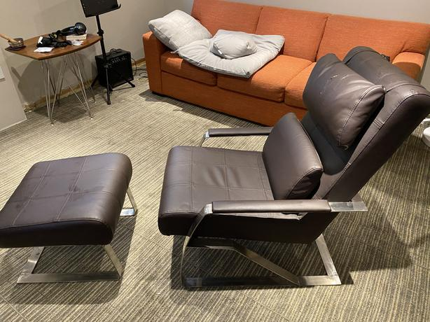 pleather chair and ottoman