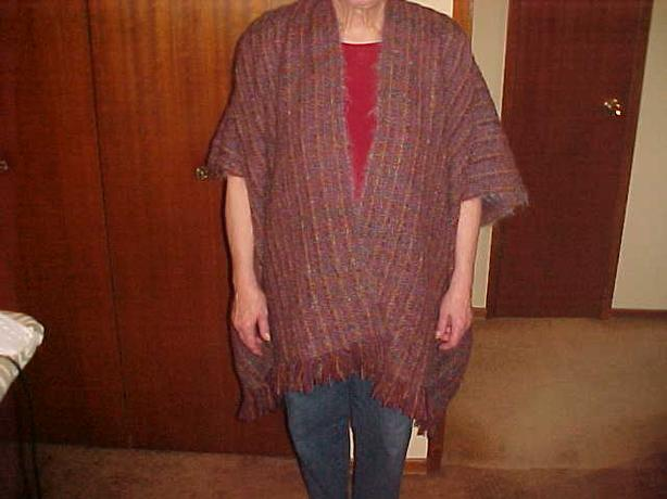 LADIES HAND WOVEN PANCHO SWEATER