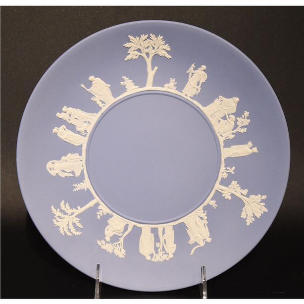 Vintage Wedgwood Blue Jasperware Cake Plate