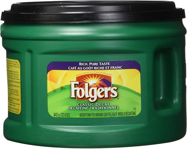 FREE:  Folgers Classic Decaf Coffee Large Tub - Free