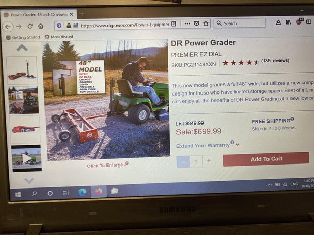 """48"""" DR Power Grader, like new"""