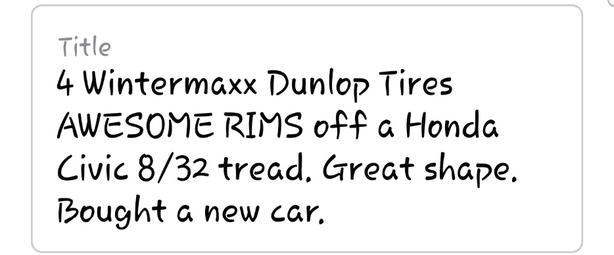 4 Wintermaxx Dunlop Tires for sale