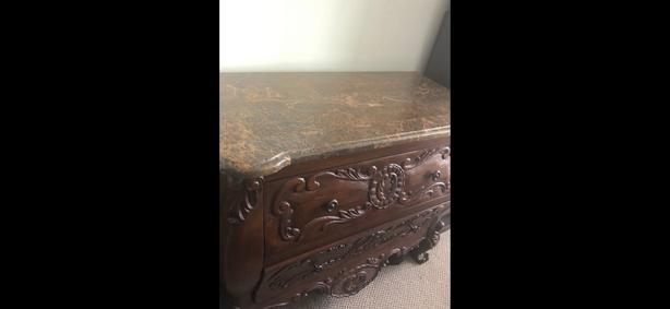 Granite top chest of drawers