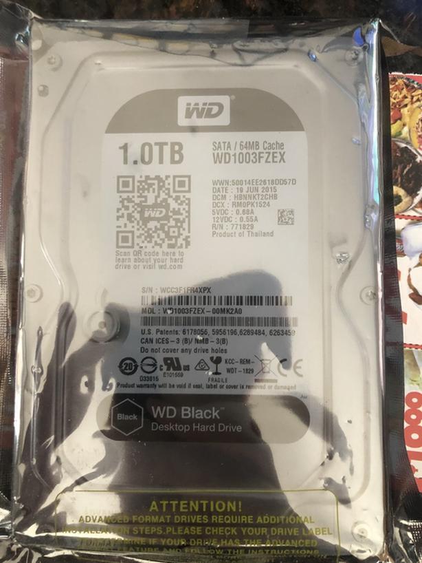 """WD Black 1TB 7200RPM SATA3 64MB Cache 3.5"""" Internal Hard Drive"""