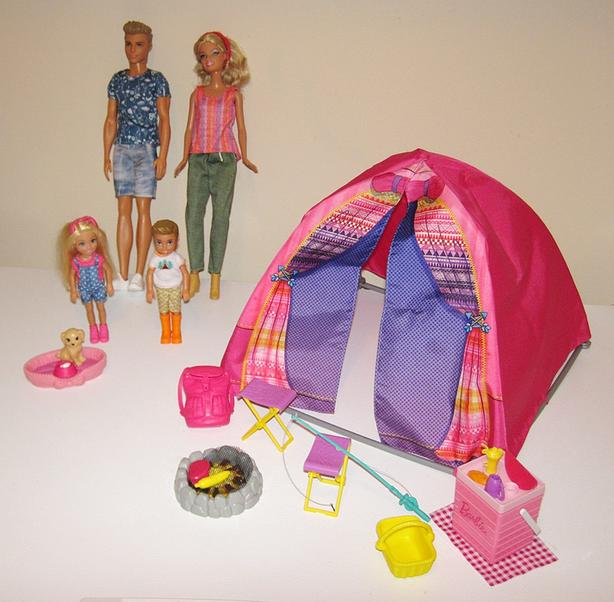 Barbie Doll Family #2 & Camping Tent & Accessories