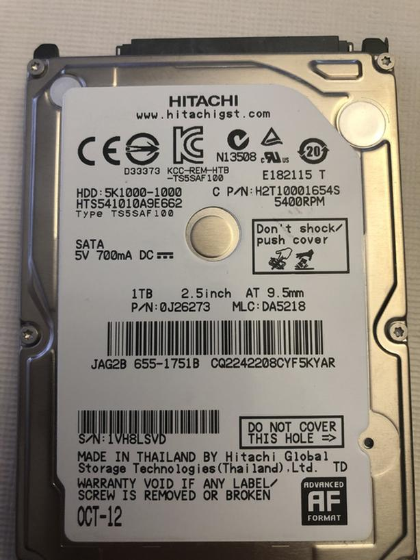 "HITACHI 2.5"" LAPTOP SSHD 1000GB 5400 RPM HARD DRIVE"